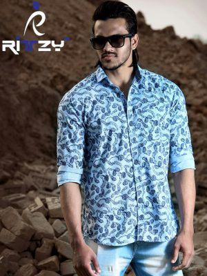 Sky Blue All Over Printed Cotton Slim Fit Casual Shirt for Men (CSLS 55)