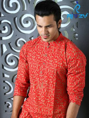 Red All Over Printed Cotton Panjabi Pajama Set for Men (MPL 44)