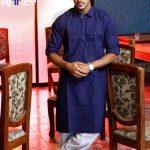 Navy Blue Cotton Slim Fit Semi Long Kabli Shaped Panjabi for Men