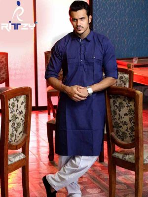 Navy Blue Cotton Slim Fit Semi Long Kabli Shaped Panjabi for Men