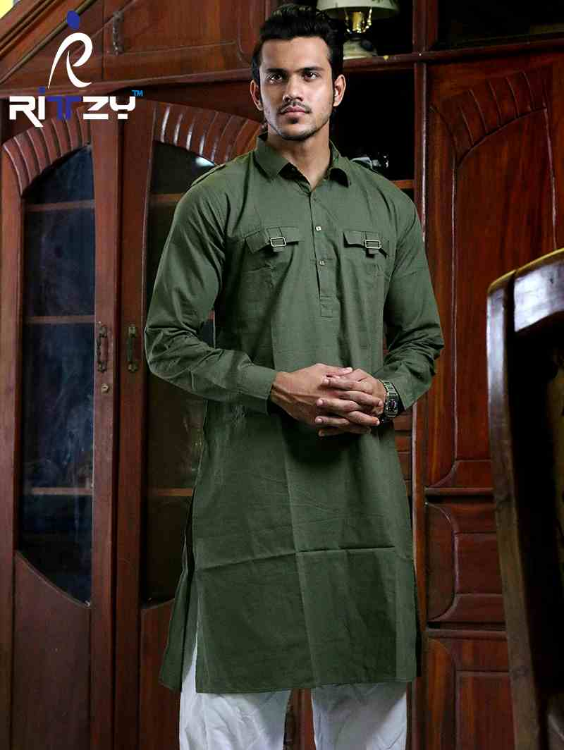 Olive Cotton Slim Fit Semi Long Kabli Shaped Panjabi for Men