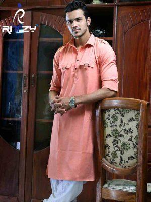 Light Orange Cotton Slim Fit Semi Long Kabli Shaped Panjabi for Men