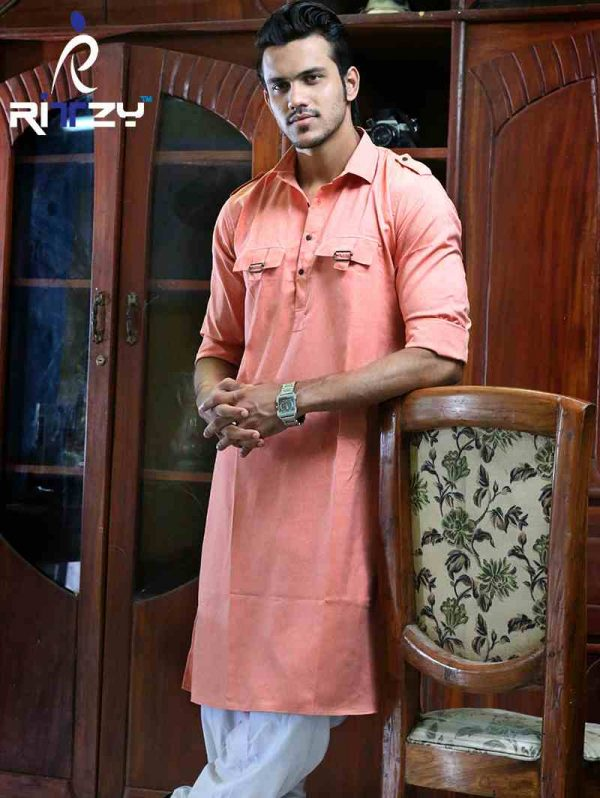 Light Orange Cotton Slim Fit Semi Long Kabli Shaped Panjabi for Men