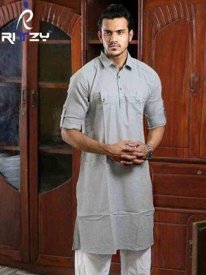 Light Grey Cotton Slim Fit Semi Long Kabli Shaped Panjabi for Men